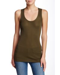INHABIT - Green Scoop Neck Tank - Lyst