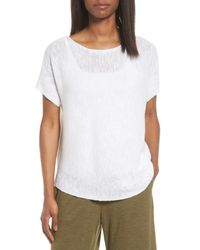 Eileen Fisher - White Organic Linen & Cotton Knit Top - Lyst