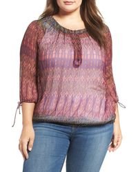Lucky Brand   Pink Mixed Ikat Henley Blouse (plus Size)   Lyst