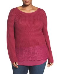 Lucky Brand | Multicolor Layer Look Lace Mix Sweater (plus Size) | Lyst