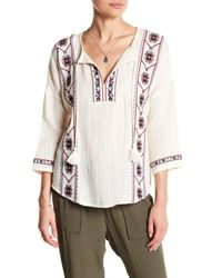 Lucky Brand | White Embroidered Smock Blouse | Lyst