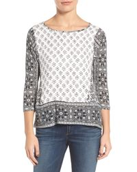 Lucky Brand | Black Border Print Top | Lyst