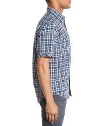 James Campbell - Blue 'getafe' Regular Fit Plaid Short Sleeve Sport Shirt for Men - Lyst