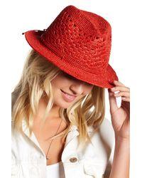 Helen Kaminski   Red Rollable Crochet Raffia Fedora   Lyst
