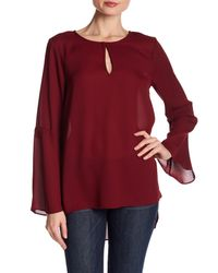Cece by Cynthia Steffe | Red Bell Sleeve Keyhole Top | Lyst