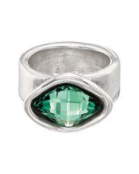 Uno De 50 - Sor Tijote Bezel Set Green Swarovski Crystal Accented Ring - Lyst