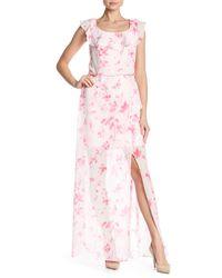 Nine West - Pink Floral Ruffle Neckline Maxi Dress - Lyst