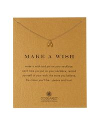 Dogeared - Metallic 14k Gold Plated Sterling Silver Make A Wish Tiny Wishbone Pendant Necklace - Lyst