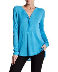 Kinross Cashmere - Blue Cashmere Worsted Zip Henley Sweater - Lyst