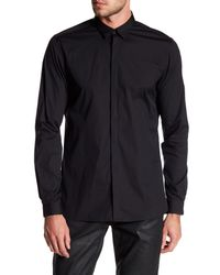 The Kooples - Black Faux Leather Pipe Classic Fit Shirt for Men - Lyst