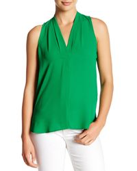 Vince Camuto   Green Pleated V-neck Hi-lo Tank (petite)   Lyst