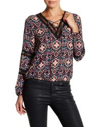 Romeo and Juliet Couture | Multicolor Lace Up Crochet Detail Blouse | Lyst