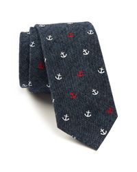 Tommy Hilfiger | Blue Denim Anchor Print Tie for Men | Lyst
