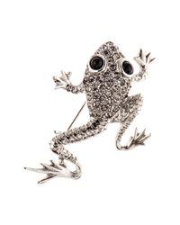 Oscar de la Renta - Multicolor Swarovski Crystal Embellished Frog Brooch - Lyst