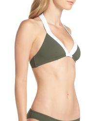 Diane von Furstenberg - Green Banded Halter Bikini Top - Lyst