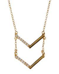 Argento Vivo - Metallic 18k Yellow Gold Plated Sterling Silver Cz Chevron Pendant Necklace - Lyst