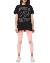 TOPSHOP - Black By And Finally Led Zeppelin Tee - Lyst