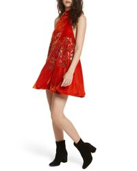 Free People | Red Jill's Sequin Swing Dress | Lyst