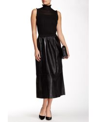 Insight - Black Faux Leather Midi Skirt - Lyst