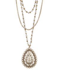 Lucky Brand - Metallic Layered Openwork Pendant Necklace - Lyst