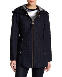 Laundry by Shelli Segal | Blue Hooded Quilted Jacket | Lyst