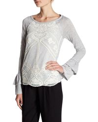 Jolt - Multicolor Double Sleeve Accent Lace Overlay Top - Lyst