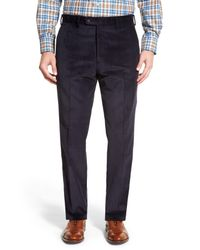 JB Britches - Blue Flat Front Corduroy Trousers for Men - Lyst