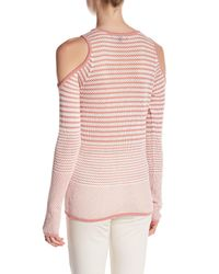 Romeo and Juliet Couture - Pink Long Sleeve Knit Cold Shoulder Stripe Shirt - Lyst