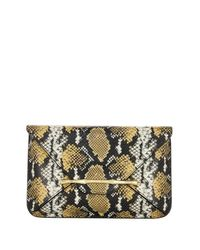 Elaine Turner - Metallic Bellaire Python Embossed Leather Clutch - Lyst