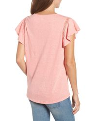 Caslon - Pink (r) Flutter Sleeve Crochet Detail Top (regular & Petite) - Lyst