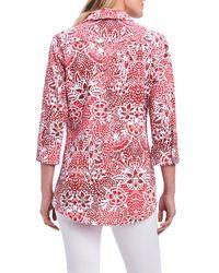 Foxcroft - Red Faith Batik Floral Shirt (regular & Petite) - Lyst