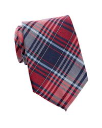 Tommy Hilfiger | Red Casual Plaid Silk Tie for Men | Lyst