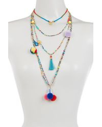 Cara - Blue Multi Layer Seed Bead, Pompom, Tassel, & Bird Necklace - Lyst