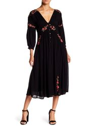 Free People - Black Floral Embroidered Dress - Lyst