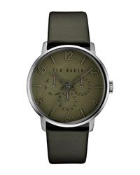 Ted Baker - Green Multifunction Leather Strap Watch for Men - Lyst
