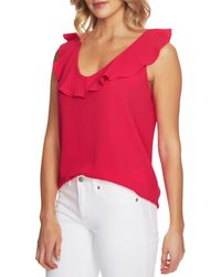 Cece by Cynthia Steffe - Pink V-neck Ruffled Blouse - Lyst