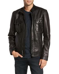 John Varvatos - Black John Varvatos Leather Zip Front Jacket for Men - Lyst