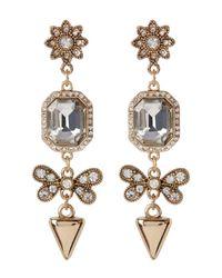 ABS By Allen Schwartz - Metallic Linear Embellished Drop Earrings - Lyst