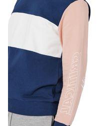 Topman - Blue Critical Print Colorblock Sweatshirt for Men - Lyst