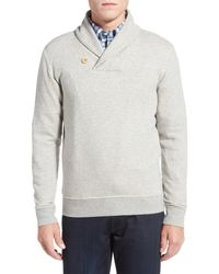 Brooks Brothers - Gray Knit Fleece Shawl Collar Pullover for Men - Lyst