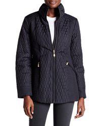Ellen Tracy | Black Quilted Mock Neck Jacket | Lyst