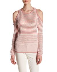 Romeo and Juliet Couture | Pink Long Sleeve Knit Cold Shoulder Stripe Shirt | Lyst