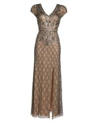 Adrianna Papell - Multicolor Beaded V-neck Mesh Gown - Lyst