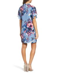 Charles Henry - Blue Tie Neck Shift Dress - Lyst