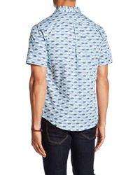 Loft 604 - Blue Fish Print Regular Fit Woven Shirt for Men - Lyst