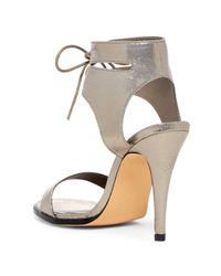 Michael Antonio - Multicolor Lines Ankle Cuff Stiletto Sandal - Lyst