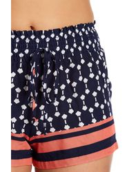 Lily White - Blue Printed Smocked Waist Shorts - Lyst