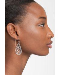 Argento Vivo - Metallic Sterling Silver Teardrop Dome Lace Earrings - Lyst