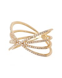 EF Collection - Metallic 14k Yellow Gold Pave Diamond Sunburst Ring - Size 8 - 0.30 Ctw - Lyst
