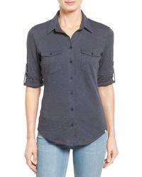 Caslon - Gray Roll Sleeve Cotton Knit Shirt (petite) - Lyst